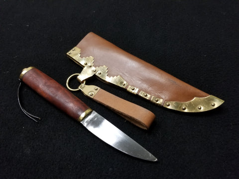 Viking Utility Knife with Brass Detailed Scabbard