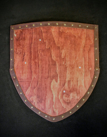 Heater Shield (Small) - Stained With Leather Tacked Edge