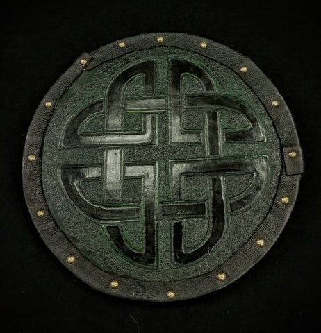 Custom - Targe Shield - Green and Black Celtic Knot