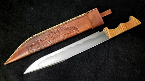 Custom - Bowie Knife with Tooled Sheath & Hamon Line