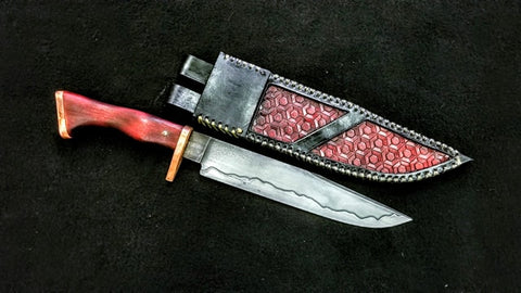 Custom - San Mai Bowie Knife with Copper Guard