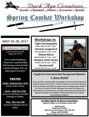 Spring Combat Workshop Sign Up - Sunday Only Pass