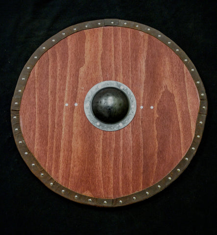 Viking Round Shield - Stained With Leather Tacked Edge