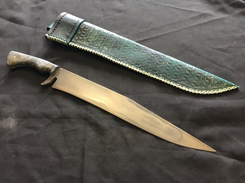 Custom - Bowie Knife with Blue Tooled Sheath - Large