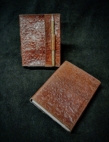 Large Etched Leather Book with Pencil