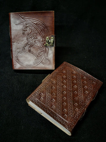 Large Dragon Etched Leather Book