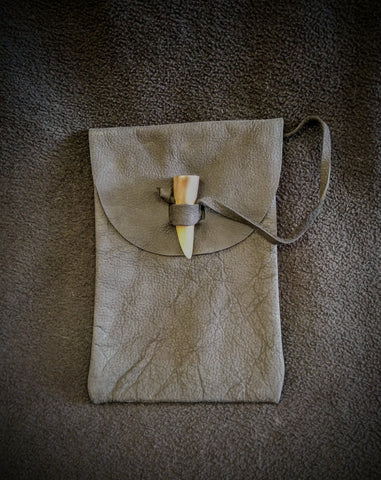Small Leather Belt Pouch With Horn Closure