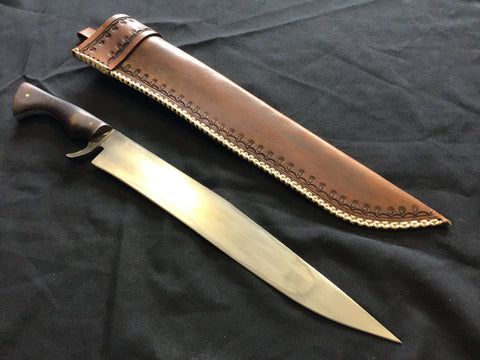 Custom - Bowie Knife with Brown Tooled Sheath - Large