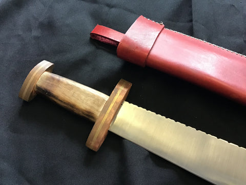 Custom - Langseax with Filled Spine and Red Leather Sheath