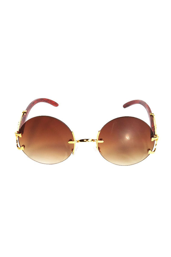 Framelsess Round Sunglasses-Gold