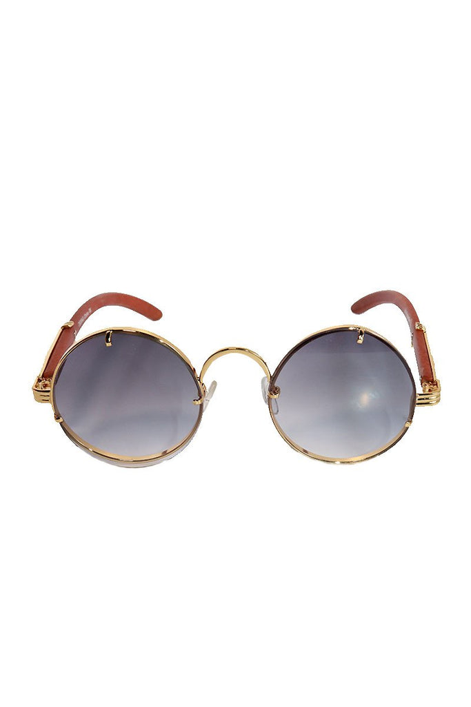 Vintage Round Sunglasses-Gold