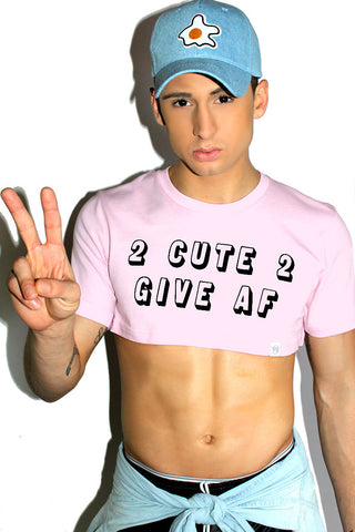 2 Cute 2 Give AF Extreme Crop Tee-Pink