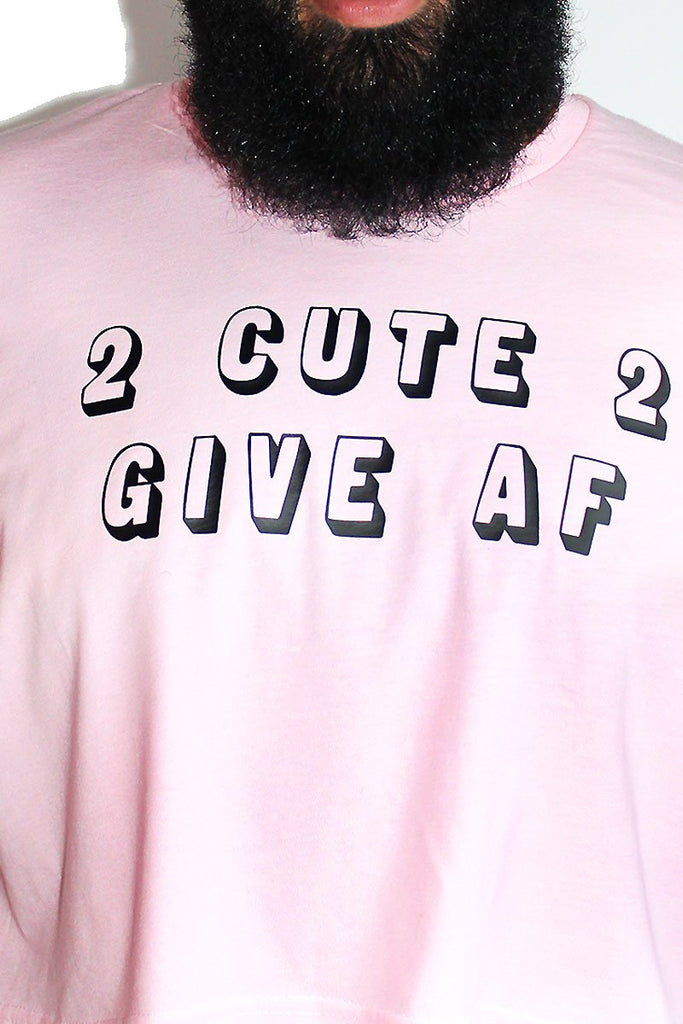 PLUS: 2 Cute 2 Give AF Crop Tee-Pink
