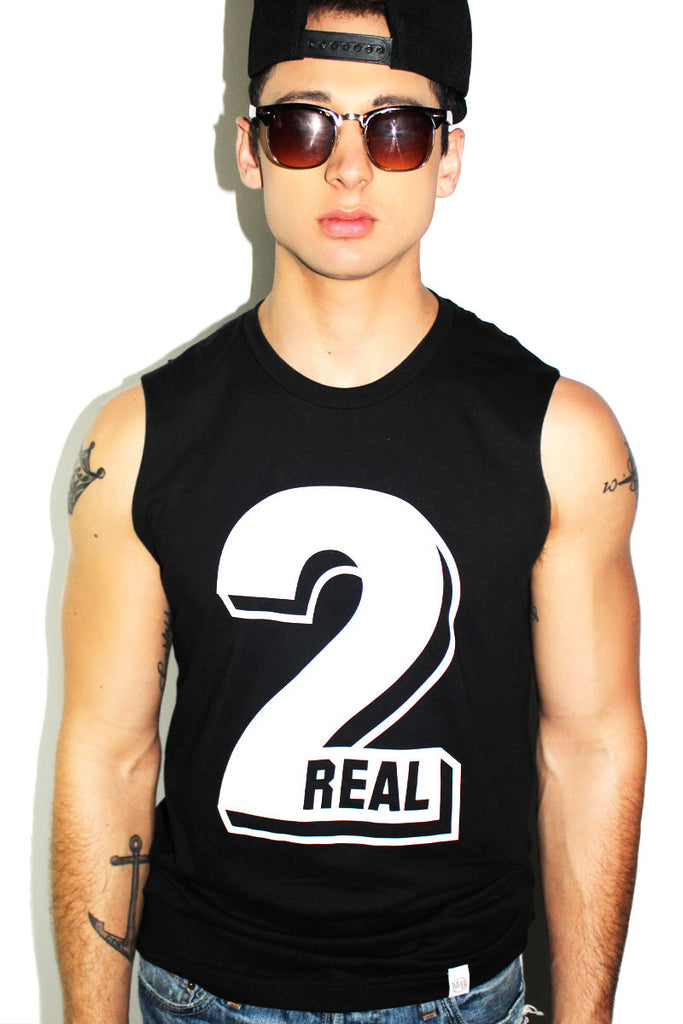 Too Real Sleeveless Tee- Black