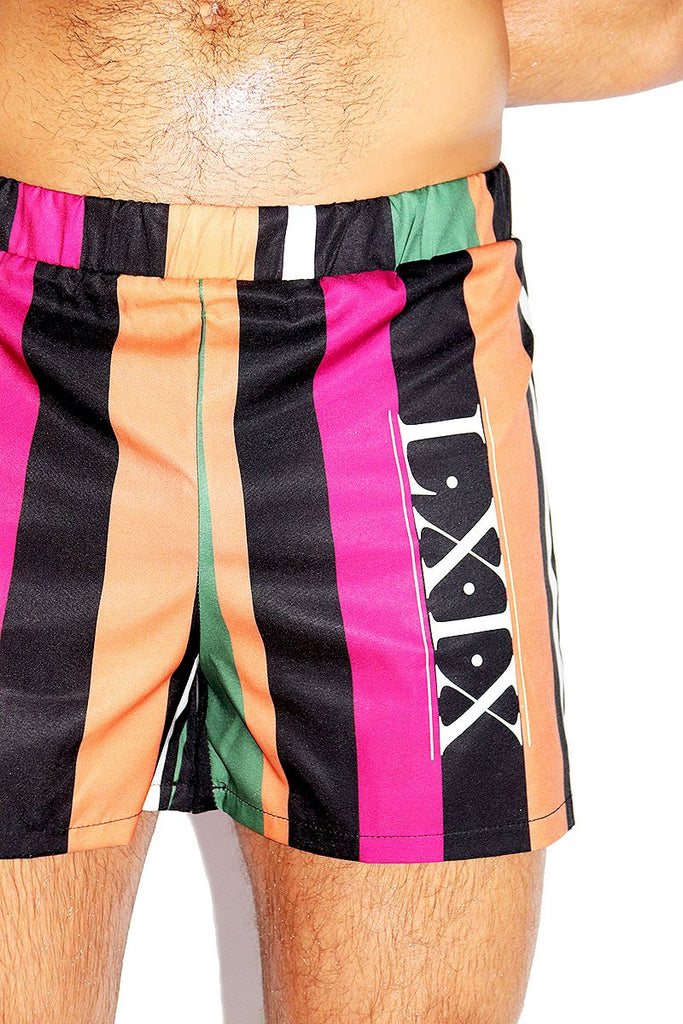 69 Stripe Relax Shorts-Green