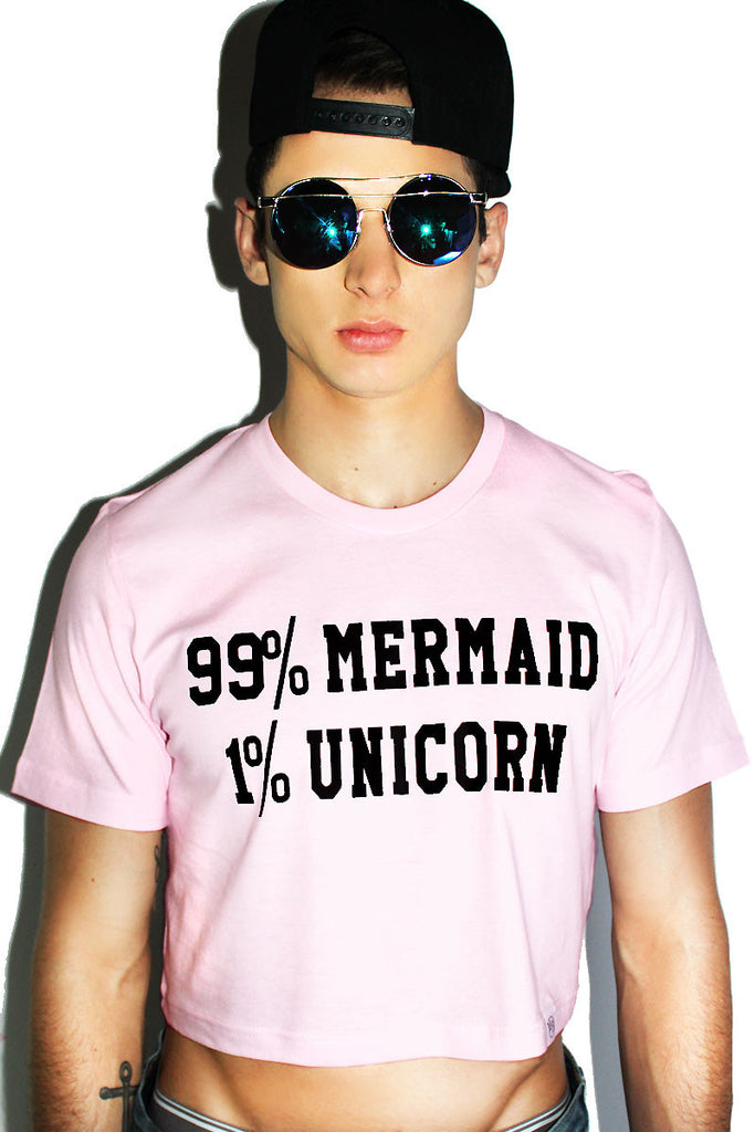 99% Mermaid 1% Unicorn Long sleeve Crop Tee- Pink