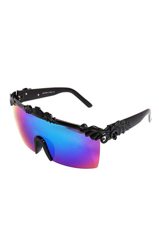 Graphic Noise Flat Top Sunglasses-Black