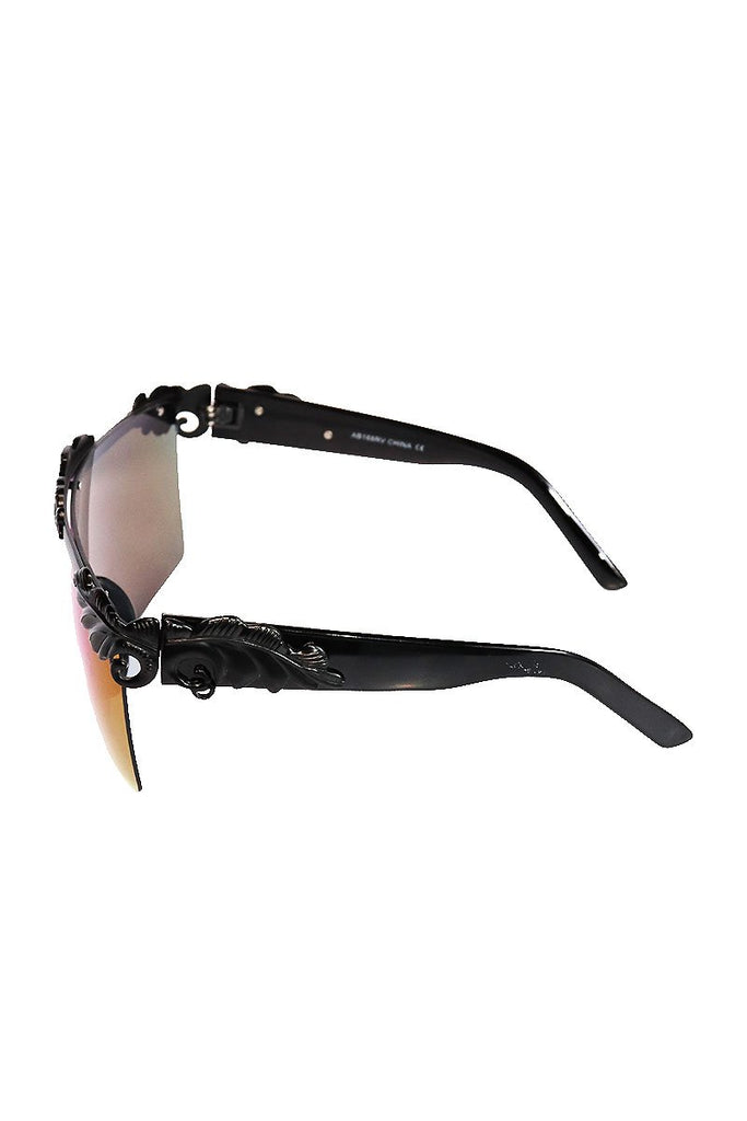Oversized Versailles Shield Sunglasses-Black