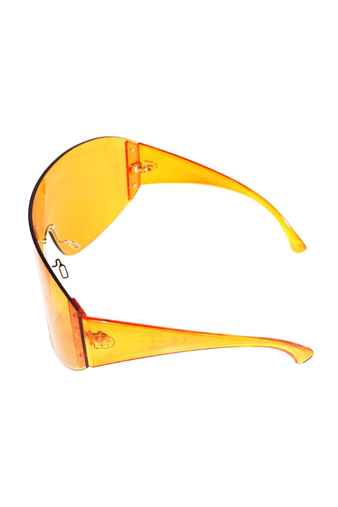 Acrylic Large Shield Sunglasses-Orange