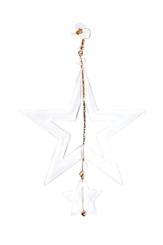 Thick Clear Acrylic Star Single Earring-Clear