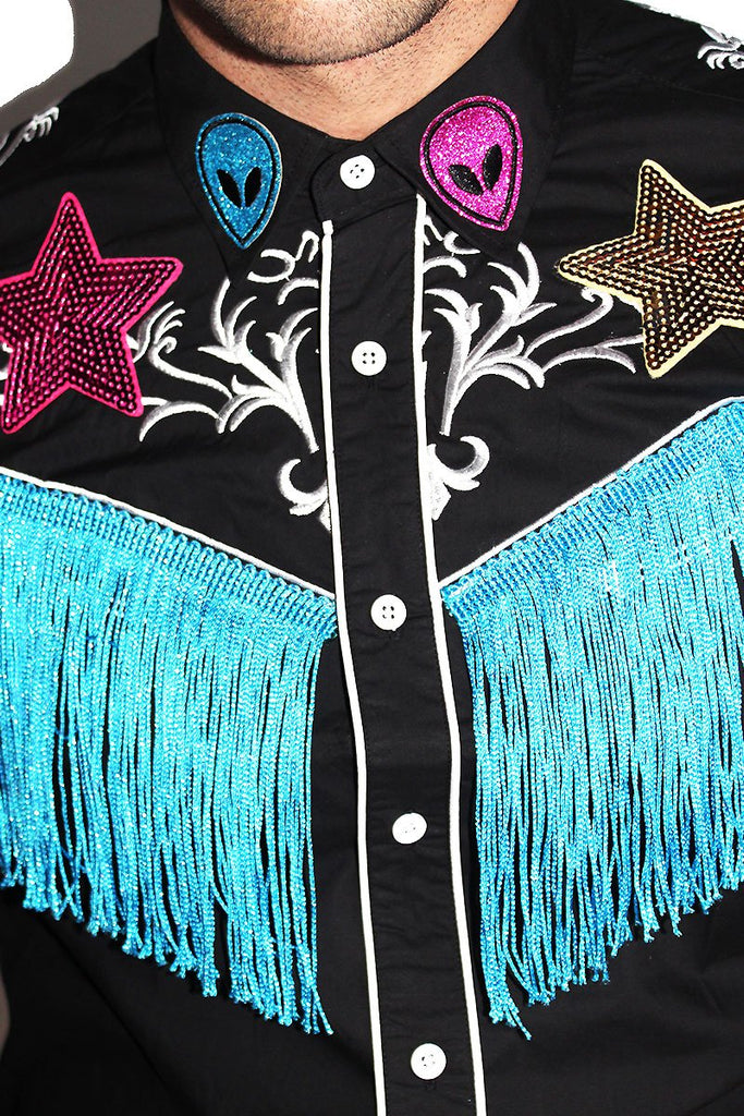 Alien Fringe Cowboy Shirt - Black