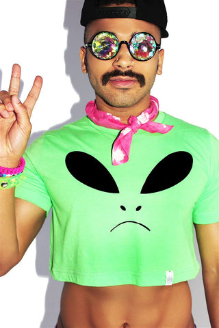 Grumpy Alien Crop Tee- Neon Green