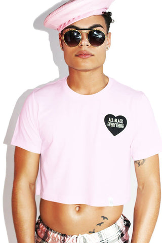 Fancy Unicorn Mesh Oversize Crop Tee-Pink