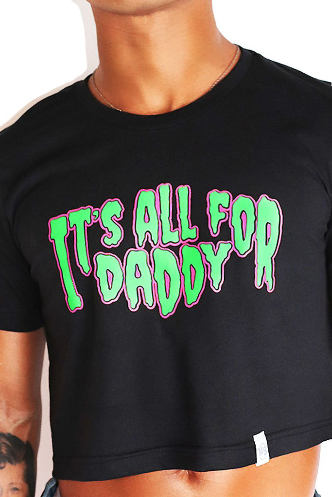 All 4  Daddy Crop Tee-Black