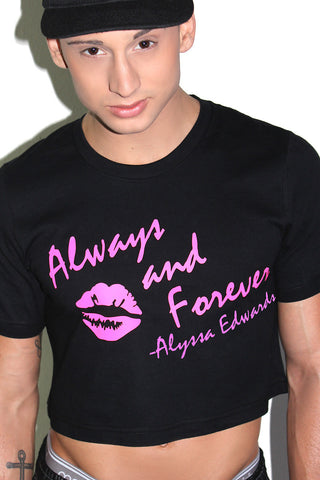 Alyssa Edwards Always and Forever Crop Tee-Black