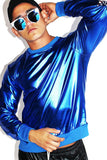 Stars Elbow Patch Metallic Sweatshirt- Blue