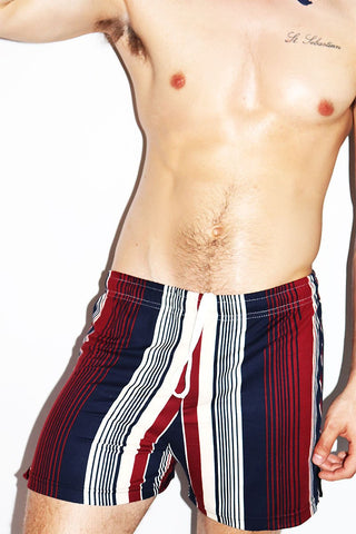 Americano Stripe Athletic Shorts-Burgundy