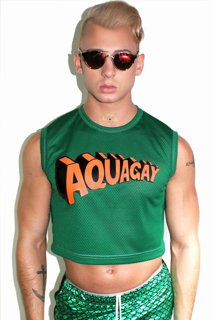 Aquagay Crop Tank- Green