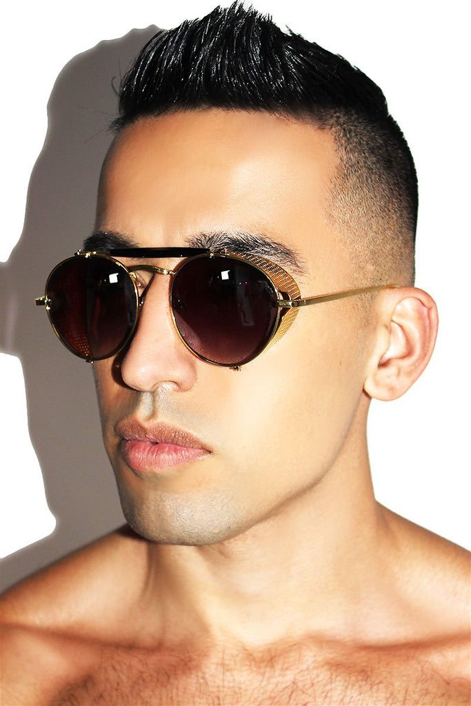 Collapsible Aviator Sunglasses-Gold