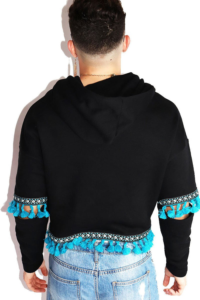 Aztec Floating Sleeve Crop Hoodie-Black