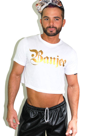BANJEE Crop Tee-White