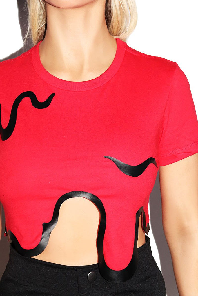 Blood Bath Fitted Crop Tee-Red