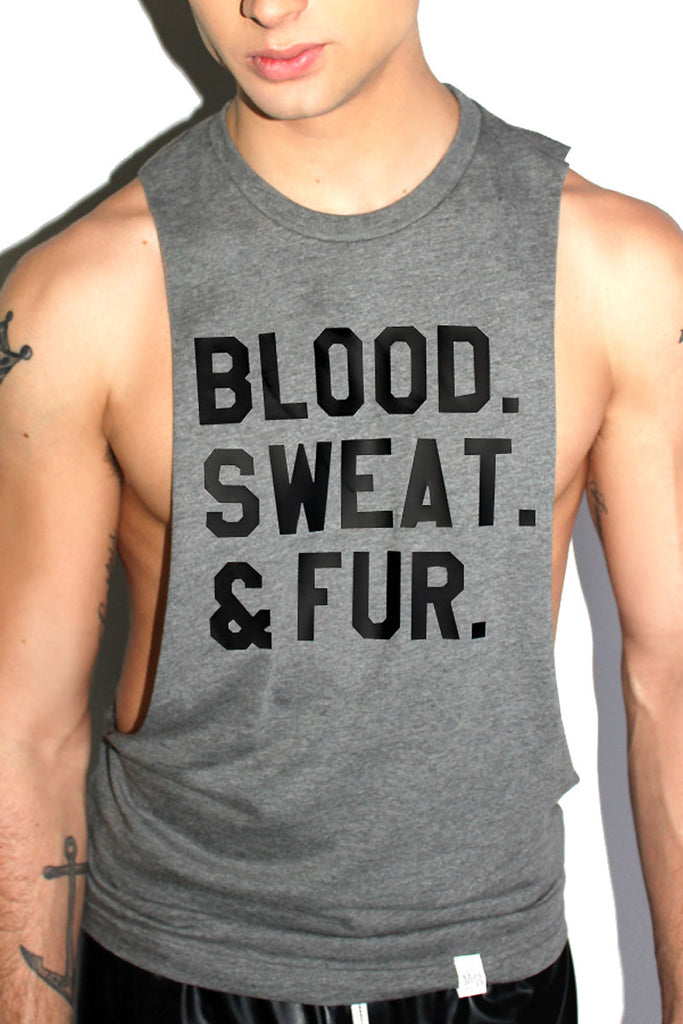 Blood, Sweat and Fur Low Arm Tank-Charcoal