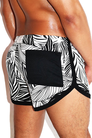Jungle Monochrome Running Shorts-Black