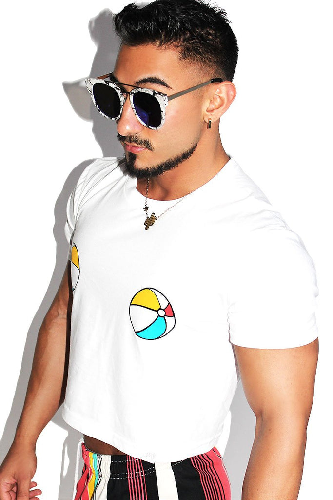 Beach Ball Pasties Crop Tee-White