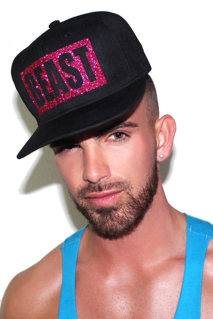 Alyssa Edwards Beast Glitter Snap Back Hat-Black