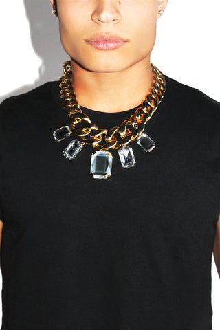 Crystal Chain Necklace-Gold