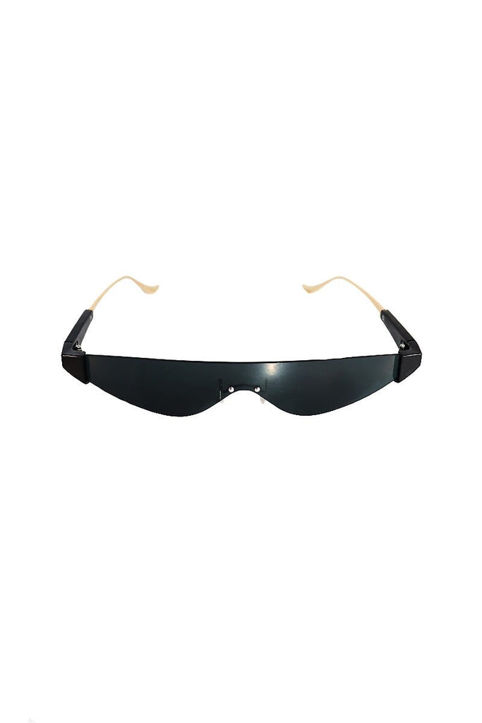 Frameless Cat Eye Mini Shades-Black
