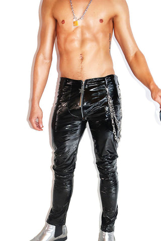 Glam Rocker Patent Vegan Leather Skinny Pants-Black