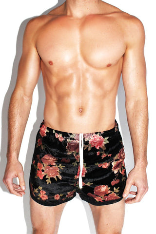 Velvet Rose Running Shorts-Black