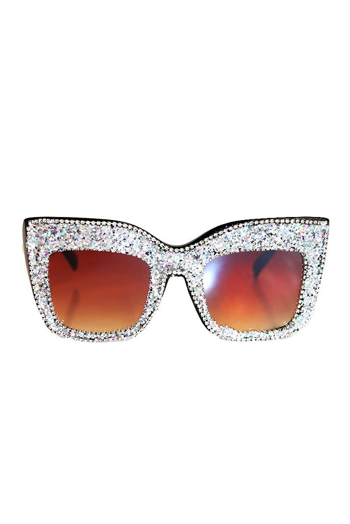 Holographic Glitter Wellington Sunglasses-Black