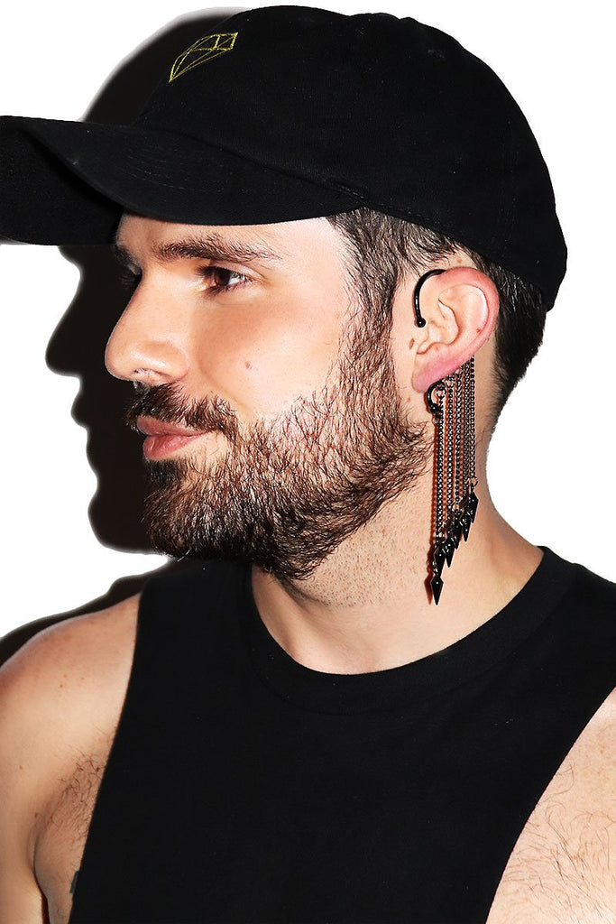Spiked Chain Fringe Single Ear Hook- Black