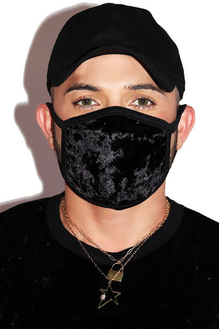 Crushed Velvet Face Mask- Black