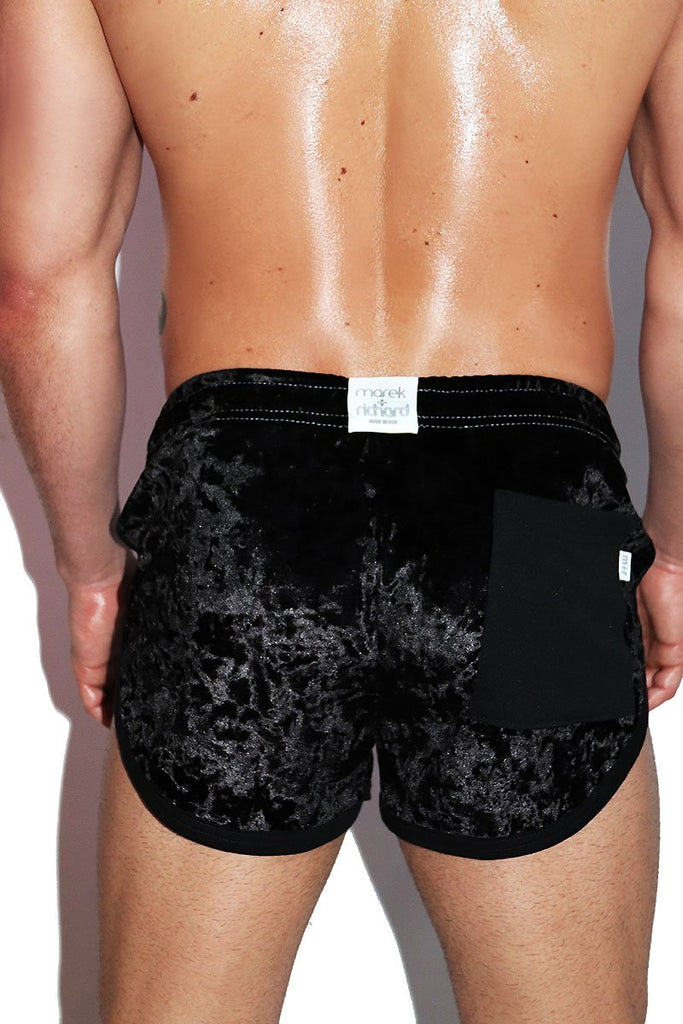 Crushed Velvet Running Shorts- Black