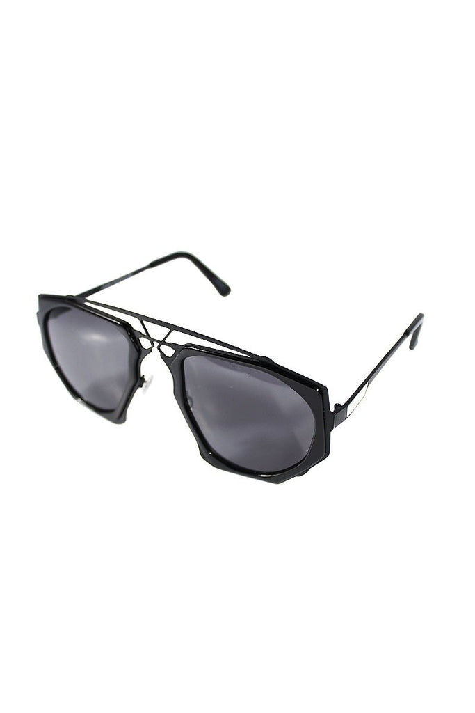 Octagon Aviator Sunglasses-Black
