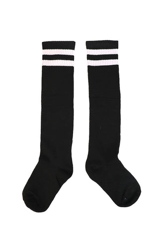 Stripe Mid-Calf Socks- Black